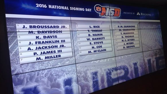 Auburn's 2016 signing day class shown on the board