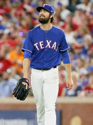Cole Hamels is 2-0 with a 3.03 ERA in five starts with the Rangers this season.