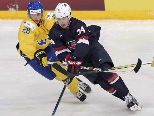 Red Wings prosspect Christoffer Ehn, left, is expected to play in Grand Rapids in 2018-19.