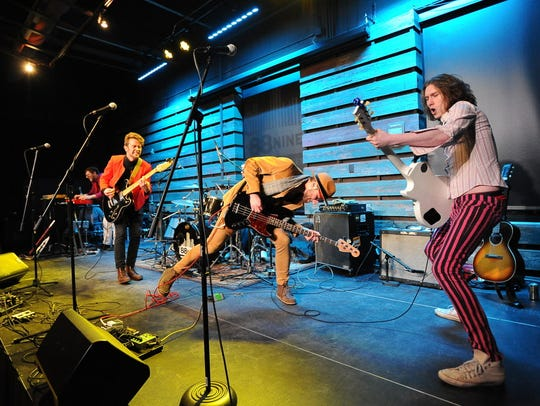 """Telethon (with Nate Johnson on keys, Kevin Tully on lead vocals and guitar, Erik Atwell on drums, Alex Meylink on bass and Jack Sibilski on lead guitar) performs at the Journal Sentinel's """"Bands to Watch: Best of 2017"""" concert at the Radio Milwaukee studios on Jan. 5, 2018."""