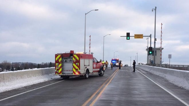 An accident on highway bridge in Sturgeon Bay had traffic down to one lane this morning. A blue Dodge minivan and white Oldsmobile were towed away with front-end damage.