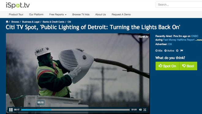 This screen grab shows Citicorp's commercial, which shows the installation of new energy-efficient streetlights along once-dark Detroit streets and neighborhoods. Citicorp helped procure the needed money.
