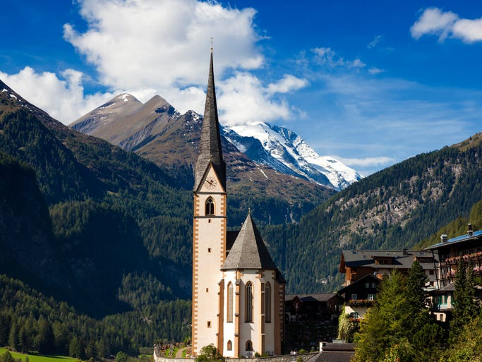 St. Vinzenz Church in Heiligenblut sits at the                                                          foot of                                                          Austria'