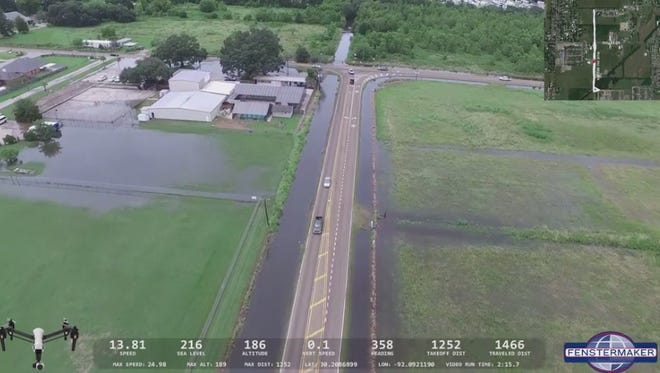 A screengrab from a drone flooding video.