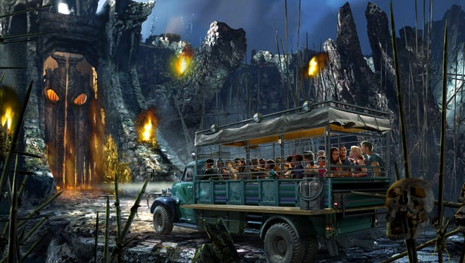 """This concept art rendering released by Universal Orlando shows a scene from the upcoming thrill ride called """"Skull Island: Reign of Kong,"""" opening in the summer of 2016 at Universal Orlando."""