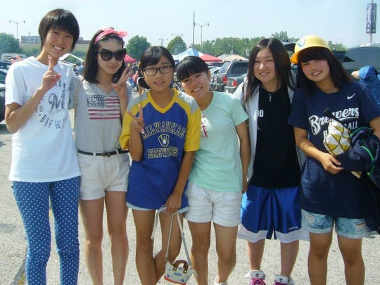 Six students from Manitowoc's sister city, Kamogawa, Japan, visited Manitowoc Aug. 1 through Aug. 12. They include, from left, Nao Suzuki, 17; Momo Sakamoto, 17; Yurie Ochiai, 13; Maia Masuda, 14; Mayu Yoshimura, 16; and Yuna Suzuki, 15. They also attended a Milwaukee Brewers game.