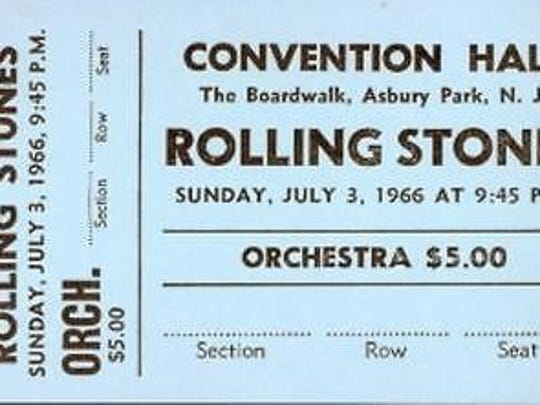 A blank orchestra 1966 Rolling Stones ticket at Asbury Park Convention Hall.