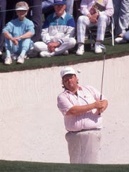 Chris Patton plays a practice round at the Masters