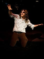 "Brandon Argento performs in The Castaway Players' production of ""Rock of Ages"" at the Rhinebeck Center for the Performing Arts."