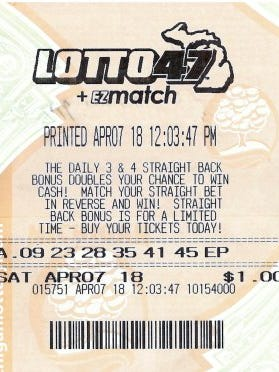 A Wayne County man's jackpot-winning Lotto 47 ticket.
