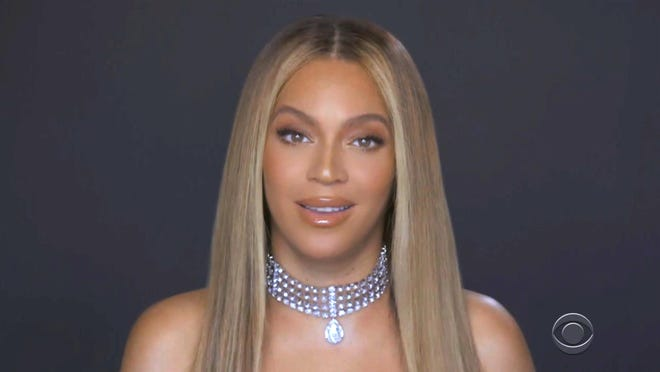 In this video grab issued Sunday by BET, Beyonce accepts the Humanitarian Award during the BET Awards.