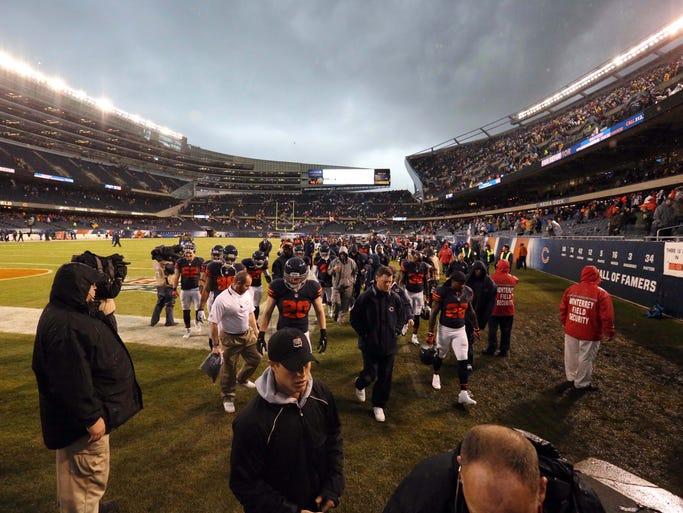 A general view of the Chicago Bears being evacuated during severe weather in the first quarter at Soldier Field in a game against the Baltimore Ravens.
