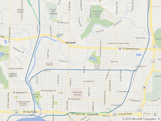 Screen capture map of CSX lines through Evansville