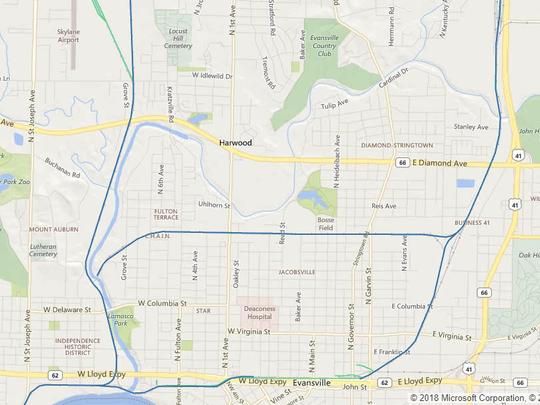 Screen capture map of CSX lines through Evansville