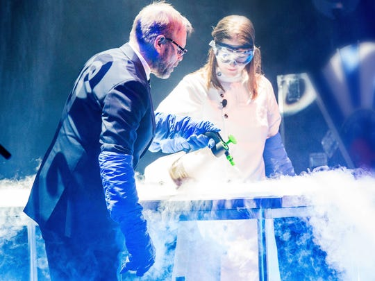 "Alton Brown likes to call people from the audience up onstage to help him cook up fun during his ""Eat Your Science"" tour. The tour is scheduled too make a stop at the Hershey Theatre on Nov. 7."