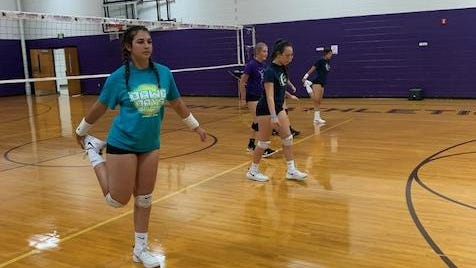 North Henderson High's volleyball players participate in a workout earlier this week at Tom Pryor Gymnasium.