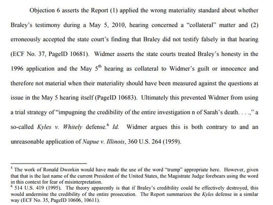 This is a screenshot of the footnote in Ryan Widmer's appeal that mentioned President Donald Trump.