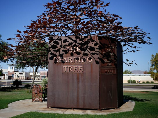 """The art installment called """"The Learning Tree"""" is displayed"""