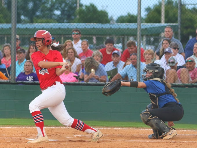 Tipton-Rosemark's Rachel Whitley swings at a pitch