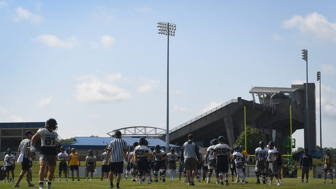 The Kent State football team is pictured during a 2019 preseason practice at Dix Stadium. The Golden Flashes ended 2020 preseason camp on Wednesday, and are scheduled to open the new year next Wednesday at home against Eastern Michigan.