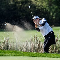 Pewaukee No. 1 golfer Allison Loth hits out of the sand during the Kettle Moraine WIAA Regional at Western Lakes Golf Club in Pewaukee on Thursday, Sept 29, 2016.
