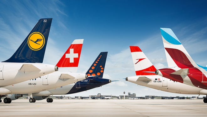 This image provided by the Lufthansa Group shows the tails of the company's airlines.