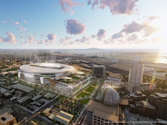 Rendering of proposed new stadium for the San Diego