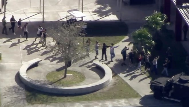 Students at Marjory Stoneman Douglas High School in Parkland, Fla., on Feb. 14, 2018.