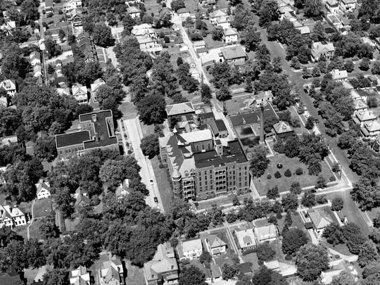 An aerial view of Good Samaritan Hospital on July 9, 1954.