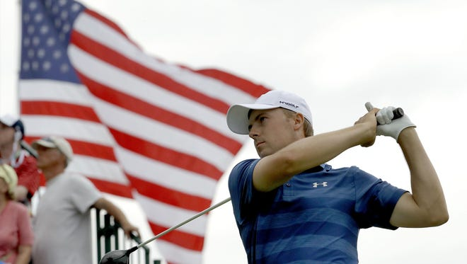 Jordan Spieth watches his tee shot on the third hole during the first round of the U.S. Open.