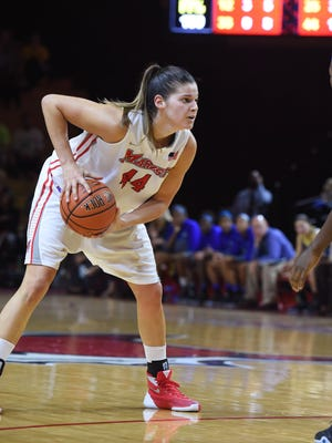 Tori Jarosz seeks an open look on the Thursday, November 19th womens basketball game between Marist College and Delaware in Poughkeepsie.