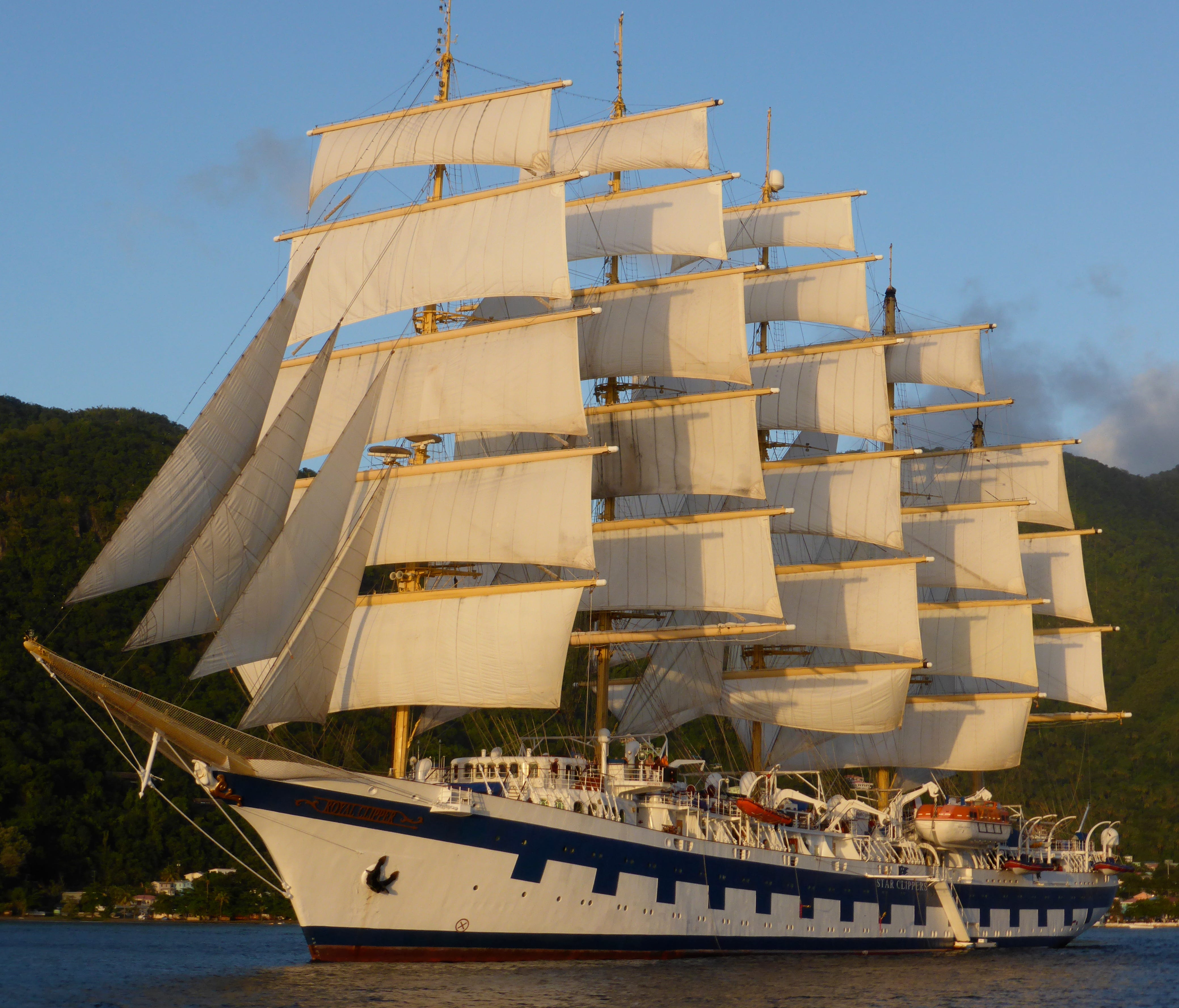 No. 12: Royal Clipper. Styled after the five-masted sailing ship Preussen of 1902, Star Clipper's 5,000-gt, 227-guest Royal Clipper is a hybrid diesel/sailing ship that currently ranks in the Guiness World Records as the world's largest passenger sai