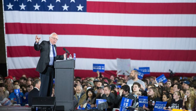 Democratic presidential candidate Sen. Bernie Sanders speaks at a campaign rally at the Alliant Energy Center in Madison, Wis., March 26, 2016.  Voters in Wisconsin go to the polls April 5 for the state's primary.