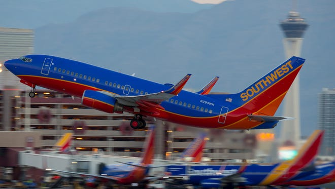 A Southwest Airlines 737 takes off from Las Vegas McCarran International Airport.