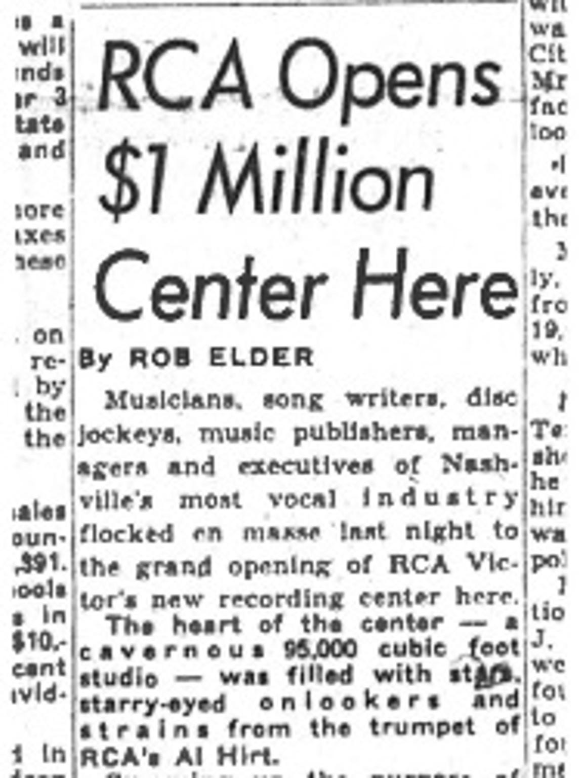 An archived Tennessean article from Studio A's opening day in Nashville in 1965.