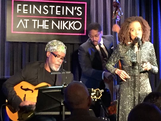 Paula West sings with her band during a recent gig at Feinstein's at the Nikko Hotel in San Francisco.