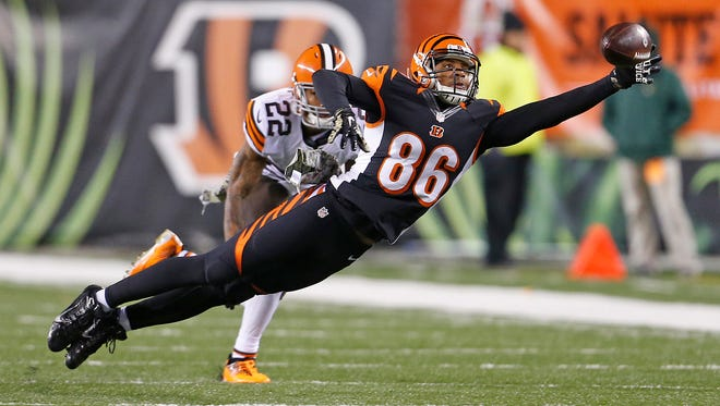 James Wright stretches but can't come up with the reception against Cleveland in 2014.