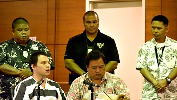 Keith Garrido, left, attends his change-of-plea hearing at the Superior Court of Guam in February. He pleaded guilty to murdering Nancy Mafnas in 2012. Garrido is scheduled to be sentenced in August.