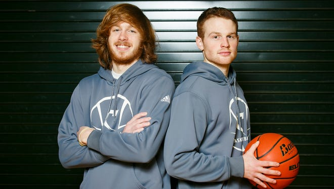 Chemeketa basketball players Collin Huun, right, and Tregg Peterson, left, used to be high school rivals, with Huun playing for South Salem and Peterson for McNary. Now the two play together on the Chemeketa men's team.
