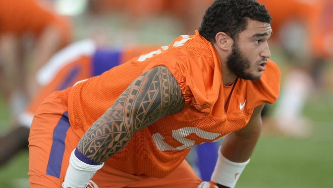 Clemson defensive tackle Scott Pagano (56) during practice on Wednesday, August 3, 2016.