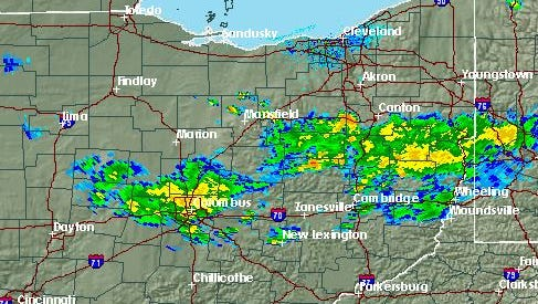 The National Weather Service in Cleveland reported storms Sunday afternoon.