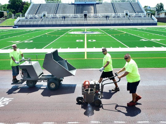 Repairs and renovations are complete at the turf and underway at the Trojan Stadium track on Wednesday, June 21, 2017.