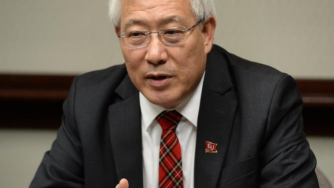 Edinboro University of Pennsylvania President Guiyou Huang during a March meeting with the Erie Times-News Editorial Board.