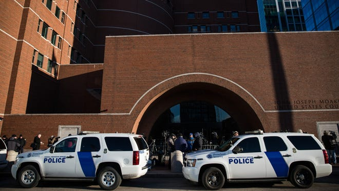 Security is tight at the John Joseph Moakley United States Courthouse in Boston on Jan. 5, 2015.