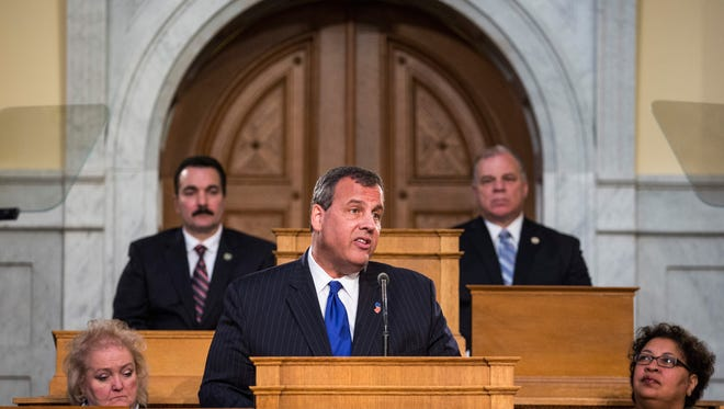 New Jersey Gov. Chris Christie gives the annual State of the State address on Jan. 13, 2015 in Trenton, N.J.