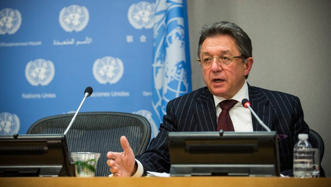Yuriy Sergeyev, Ukraine's ambassador to the United Nations, speaks at a press conference at the United Nations on Jan. 30, 2015 in New York City.