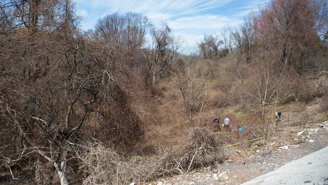Investigators work on the scene where human remains were found in a gully along Kings Highway in Irondequoit on April 19, 2015.