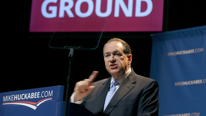 Mike Huckabee announces his intention to seek the Republican nomination in the the 2016 presidential race in Hope, Ark., on May 5, 2015.