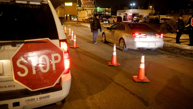Chicago police conduct a sobriety checkpoint in March.