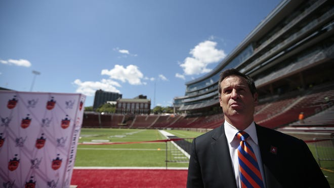 FC Cincinnati head coach John Harkes speaks to the media from Nippert Stadium at the University of Cincinnati.